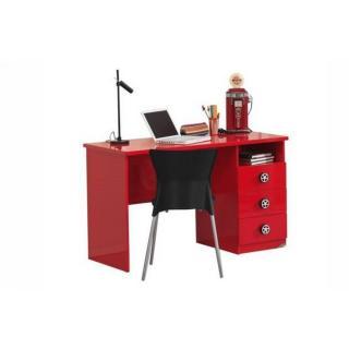 Bureau TUCANA 2 tiroirs design laqué rouge