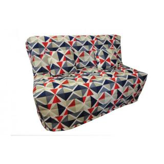 Banquette BZ convertible AXEL à imprimés triangles 140*200cm matelas confort BULTEX