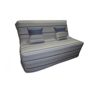 Banquette BZ convertible AXEL à rayures taupe et bleu denim 140*200cm matelas confort BULTEX