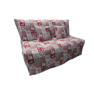 Canapé BZ convertible FLO à motifs cerfs rouge 160*200cm matelas confort BULTEX inclus