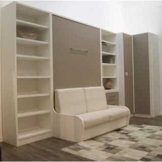 armoire lit escamotable avec canap int gr au meilleur prix armoire lit escamotable 160cm. Black Bedroom Furniture Sets. Home Design Ideas