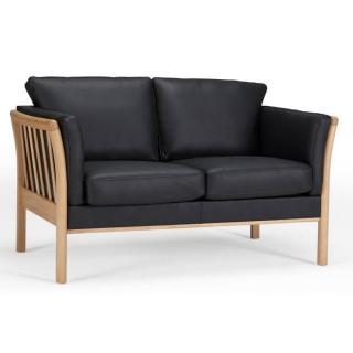 Canapé 2 places design scandinave AYA accoudoirs chêne