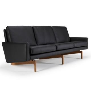 Canapé 3 places design scandinave EGSMARK piétement en chêne cuir noir