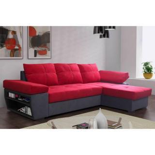 Canapé d'angle gigogne convertible CASTLE 140cm en microfibre rouge et anthracite