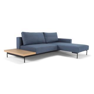 Canapé design d'angle BRAGI bleu Soft_Indigo convertible lit 200*140 cm tablette intégrée