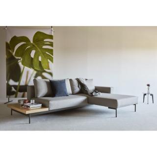 INNOVATION LIVING  Canapé design d'angle BRAGI tissu Flashtex Light Grey lit 200*140 cm tablette intégrée