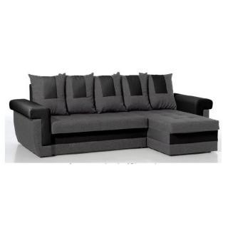Canapé d'angle convertible express DEMOS en bi-matière anthracite et noir