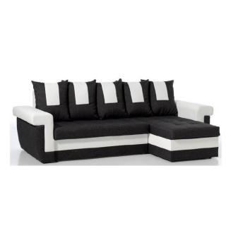 Canapé d'angle convertible express DEMOS en bi-matière noir et blanc
