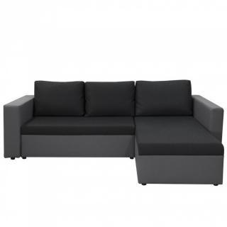 Canapé d'angle convertible LENA gris et anthracite couchage 120 cm
