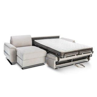Canapé d'angle convertible express DIDEROT 140cm sommier lattes matelas 16cm pieds luge