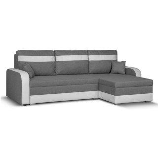 Canapé d'angle réversible convertible gigogne CONDI gris silex et PU blanc