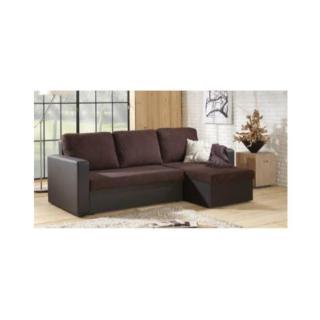 Canapé d'angle convertible express JANUS 140cm bi-matière chocolat