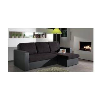 Canapé d'angle convertible express JANUS 140cm bi-matière noir