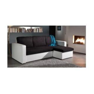Canapé d'angle convertible JANUS 140cm bi-matière noir et blanc