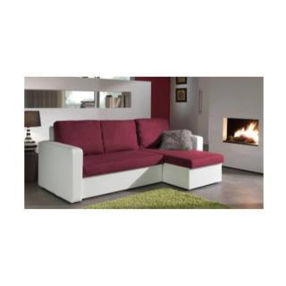 Canapé d'angle convertible express JANUS 140cm bi-matière prune et blanc