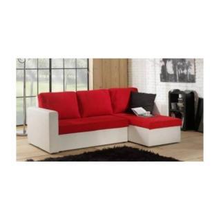 Canapé d'angle convertible JANUS 140cm bi-matière rouge et blanc