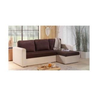 Canapé d'angle convertible ALTUS 140cm bi-matière chocolat et ivoire