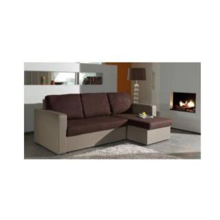 Canapé d'angle convertible express JANUS 140cm bi-matière chocolat et taupe