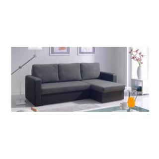 Canapé d'angle convertible express JANUS 140cm bi-matière gris et noir