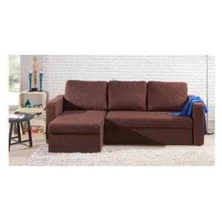 Canapé d'angle convertible express JANUS 140cm en microfibre chocolat
