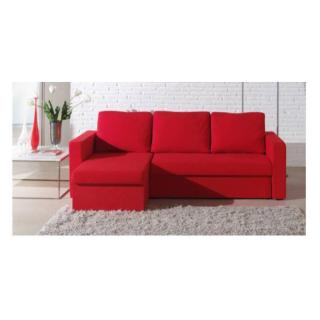 Canapé d'angle convertible express JANUS 140cm en microfibre rouge