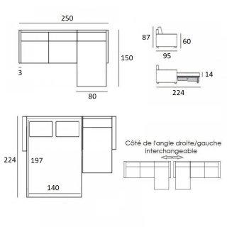 Canapé d'angle convertible express GAIN DE PLACE gris graphite couchage 140 cm