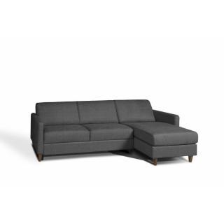 Canapé convertible d'angle OSLO matelas 14cm système express sommier lattes RENATONISI tissu dark grey
