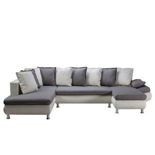 Canapé d'angle convertible panoramique HAMILTON tissu savana gris et PU blanc