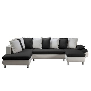 Canapé d'angle convertible panoramique HAMILTON tissu savana noir et PU blanc