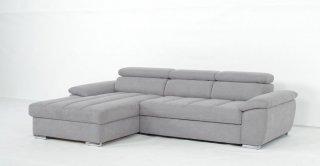Canapé d'angle gauche convertible avec méridienne coffre DUBLIN tissu gris clair