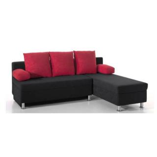 Canapé d'angle convertible express ZAURAK en microfibre noire et rouge