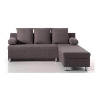 Canapé d'angle convertible ZAURAK en microfibre grise