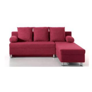 Canapé d'angle convertible express ZAURAK en microfibre prune