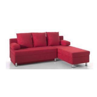 Canapé d'angle convertible express ZAURAK en microfibre rouge