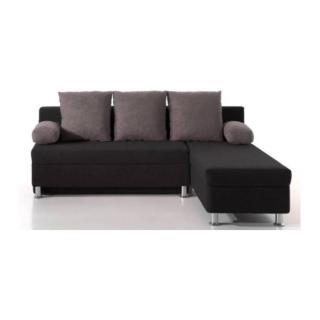 Canapé d'angle convertible gigogne ZAURAK en microfibre noire et coussins gris.