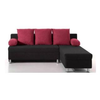 Canapé d'angle convertible gigogne ZAURAK en microfibre noire et prune