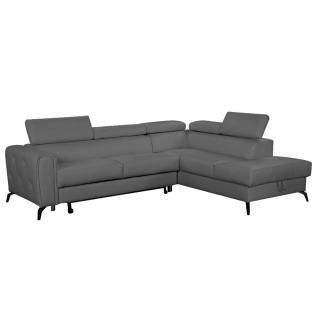 Canapé d'angle gigogne droite convertible express MONTALETTO cuir vachette recyclé gris graphite
