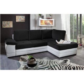 Canapé d'angle gigogne convertible express SINOPE en bi matière noir et blanc méridienne droite