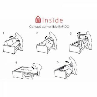 Canapé d'angle droite convertible ouverture EXPRESS EGO  grand confort,140*190 cm ouverture facile.