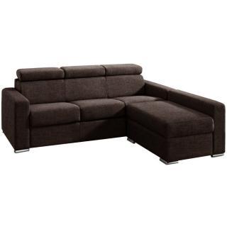 Canapé d'angle 4-5 places FASTER XXL convertible ouverture rapido lattes 180 cm matelas 18cm tissu microfibre marron