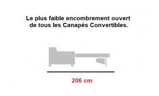 Canapé d'angle Méridienne droite express ALBINA 140 cm déhoussable matelas 14 cm Encombrement ouvert : 206 cm