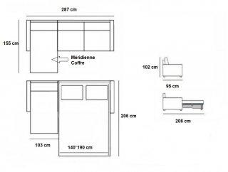 Canapé d'angle Méridienne gauche express ALBINA 140 cm déhoussable matelas 14 cm Encombrement ouvert : 206 cm