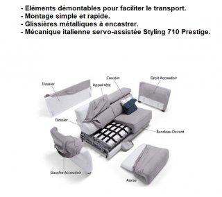 Canapé d'angle Méridienne gauche express ALBINA 160 cm déhoussable matelas 14 cm Encombrement ouvert : 206 cm