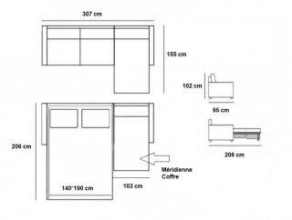 Canapé d'angle Méridienne droite express ALMA 160 cm déhoussable matelas 18 cm Encombrement ouvert : 206 cm