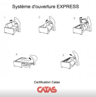 Canapé d'angle réversible CHESTERFIELD convertible EXPRESS 140 cm matelas 16 cm