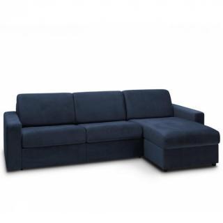 Canapé d'angle convertible MAESTRO EDITION VELOURS express matelas 18 cm couchage 140 cm bleu marine