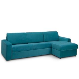 Canapé d'angle convertible MAESTRO EDITION VELOURS express matelas 18 cm couchage 140 cm bleu paon
