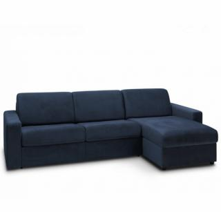 Canapé d'angle convertible NIGHT EDITION VELOURS express couchage 140 cm bleu marine