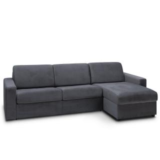 Canapé d'angle convertible NIGHT EDITION VELOURS express couchage 140 cm gris anthracite