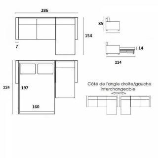 Canapé convertible d'angle OSLO matelas 14 cm système rapido RENATONISI couchage 160 cm pieds foncés